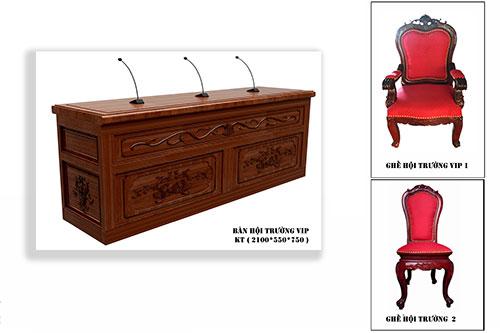 Mẫu bàn ghế hội trường gỗ tự nhiên BGGHT-01