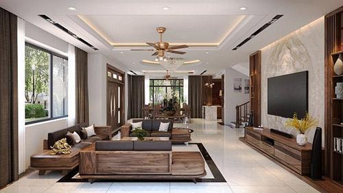 Không gian nội thất phòng khách bằng gỗ đẹp được tạo nên bởi điều gì?