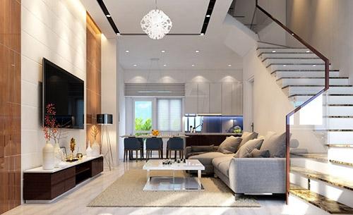 Màu sắc nội thất phòng khách cho nhà ống
