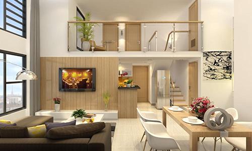 Phòng khách có gác lửng hiện đại